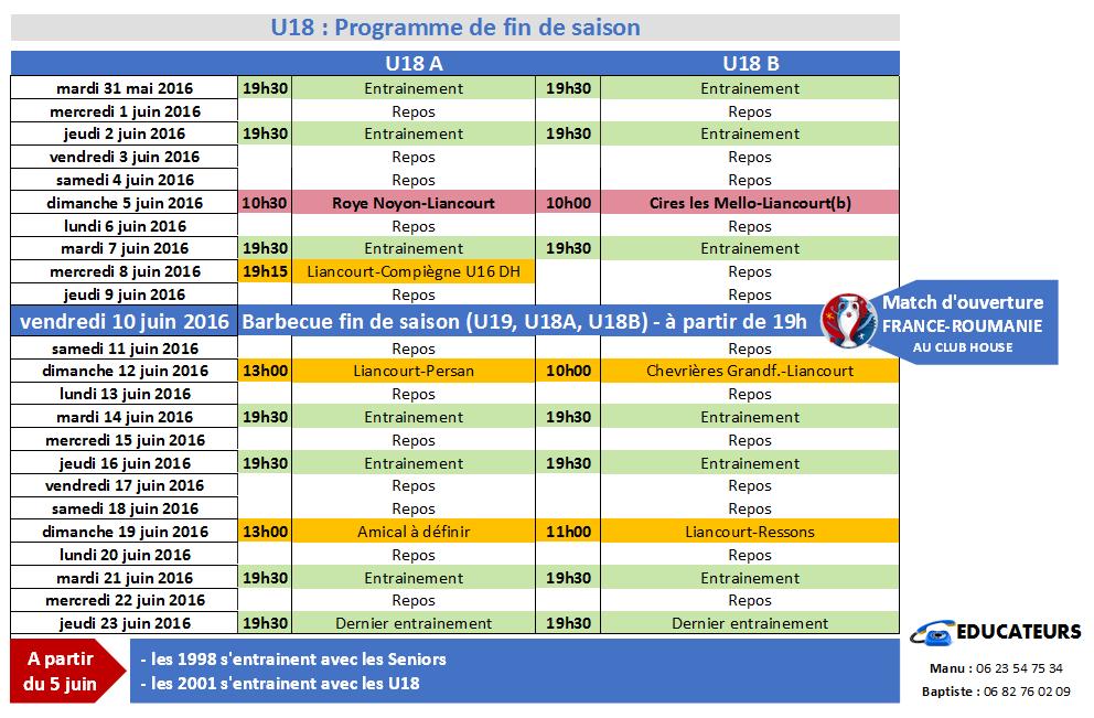 Programme fin de saison